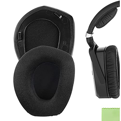 Geekria Comfort Velour Replacement Ear Pads for Sennheiser RS165, RS175, HDR165, HDR175, RS185, HDR185, RS195, HDR195 Headphones Earpads, Headset Ear Cushion Repair Parts (Plastic Ring)