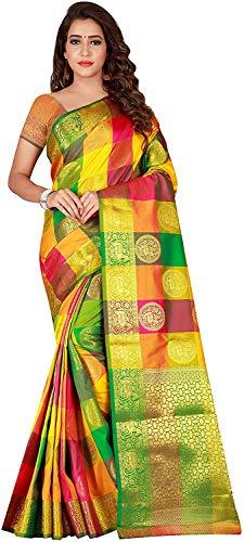 VintFlea Indische Damen Fashion Designer Kanjivaram Weiche Seide für besondere Anlässe Hochzeit Party Wear Saree mit Bluse, Cocktail