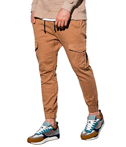 BetterStylz Herren Cargo Chino Jogginghose MasonBZ Slim Fit mit Seitentaschen (Camel, XXL)