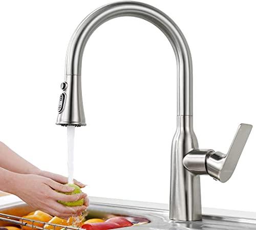 ARCORA Wasserhahn Küche Ausziehbar Küchenarmatur mit Brause 360° drehbar Spültischarmatur Edelstahl Einhebelmischer Spültischbatterie Nickel Gebürstet
