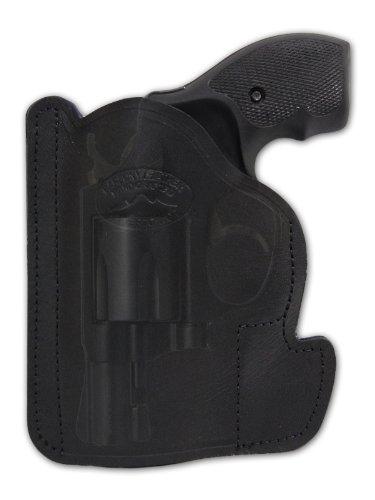 Barsony Black Leather Gun Concealment Pocket Holster for Taurus 605 650 CIA