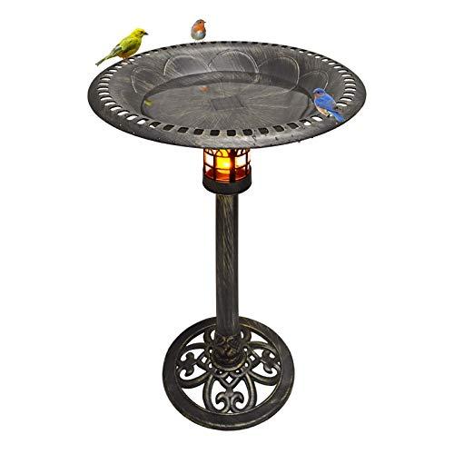 Solar Powered Led Lighted Birdbath