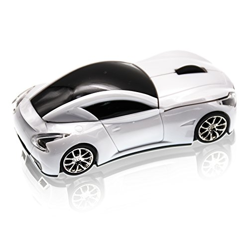JLER 2.4GHz Sports Car Shape Wireless Ergonomic Mice Optical Mouse for PC (white)