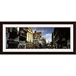 GREATBIGCANVAS Buildings in a Town Eastgate Clock Chester Cheshire England Espresso Framed Wall Art Print, 36.