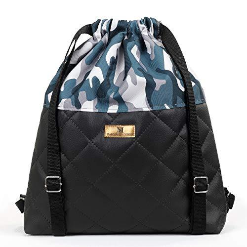 Margaret S Design Moderner Beutel Rucksack Turnbeutel Daypack Gymsack Gym Bag Sportbeutel Rucksack für Damen & Herren mit Innentasche, Reisen und City,Wasserdicht.