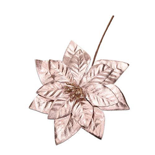 SUREH 6pcs Glitter Poinsettia Christmas Flowers Artificial Poinsettia Stems Xmas Tree Ornaments Silk Poinsettia Picks DIY Flower Centerpiece Arrangement Props Christmas Home Wedding Decor
