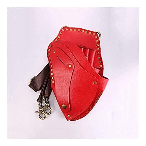 LZLM Borsa da Parrucchiere Portatile Forbici Custodia in Pelle con Cintura, retrò Salone Professionale per Barbiere Tasche per Barbiere Regolabili Lunghezza Tally Borse da Cinghia (Color : Red)