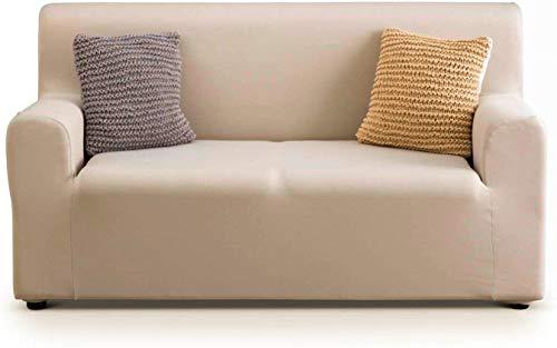 APLUS1 Funda para sofá antimanchas y antideslizante elástica de color liso de tela (97% poliéster - 3% elastano) (beige, 3 plazas para sofá de 150 a 240 cm, profundidad de hasta 70 cm.)