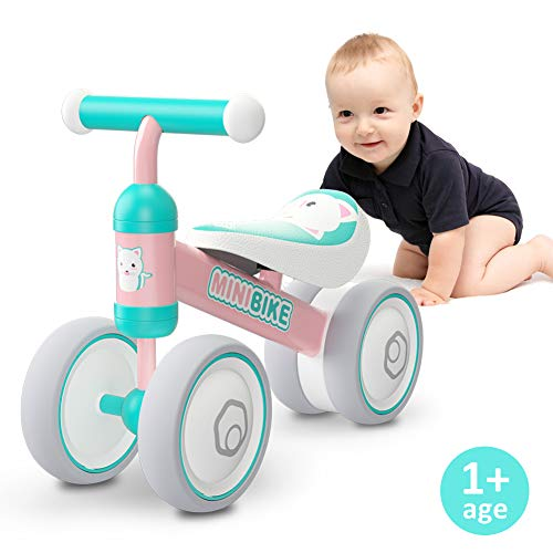 Baby Balance Bikes 10-24 Month Children Walker | Toys for 1 Year Old Boys Girls | No Pedal Infant 4 Wheels Toddler Bicycle | Best First Birthday New Year Holiday (Pink Cat)