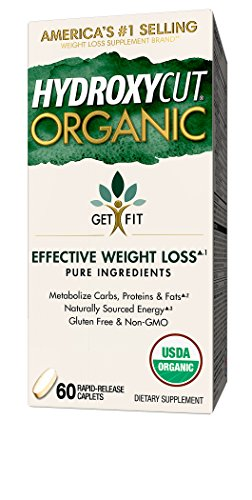 Hydroxycut Organic Weight Loss Supplements, Pure Ingredients, Naturally Sourced Energy, Metabolize Carbs Proteins & Fats, Gluten Free, Non GMO, 60 Pills