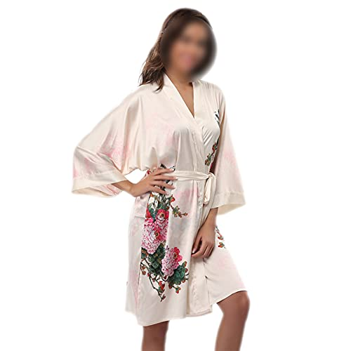 Kimono - Albornoz sexy, vestido de satén suave, albornoz sexy, mini vestido de novia 13 M
