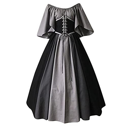 Dasongff Vestido para mujer, estilo steampunk, gtico, estilo medieval, patchwork, estilo retro, palacio, largo, para carnaval, Halloween, princesa.