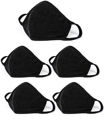 5 Pack Unisex Face Covering, Facial Covering with Adjustable Nose Wire,Black Dust Cotton, Washable And Reusable Cloth for Men and Women-USA seller