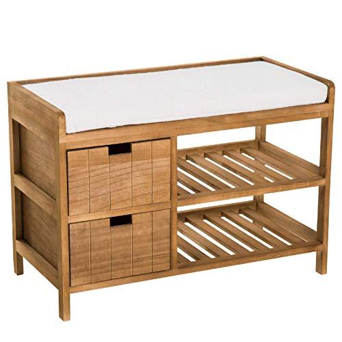 Lzcaure Zapatero de almacenamiento para entrada, 69 x 34 x 48 cm, esponja de Paulownia, color de madera natural del pasillo, sala de estar y baño