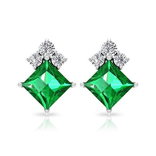 Pendientes de diamante esmeralda de corte princesa de 0,81 quilates, solitario verde de mayo, piedra natal aniversario, certificado IGI, pendientes de boda, tornillo hacia atrás