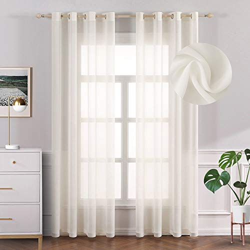 MIULEE Semi Sheer Curtain Chiffon Voile Drapes for Bedroom Wrinkle-Free Grommet Top Soft Ivory Curtains 2 Panels 54 x 90 Inch