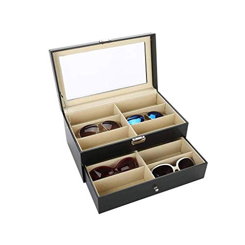 SHUMEISHOUT Caja de joyería-para Hombre Reloj de Madera Ranuras Organizador de joyería Estuche de Almacenamiento con Tapa de Cristal