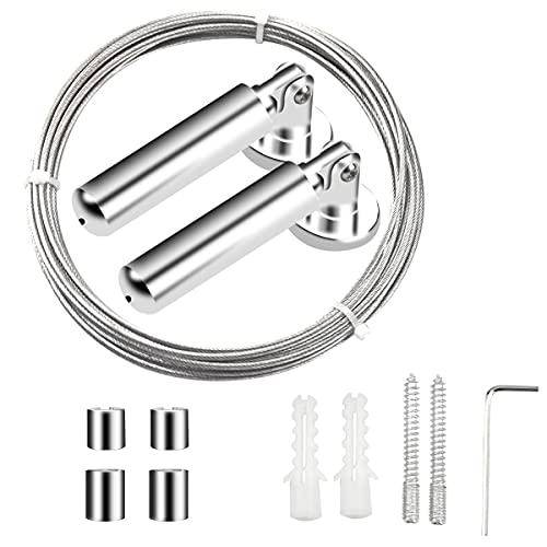 5M Cortinas de Acero Cuerda, Alambre para Cortina, Cable de Foto Imagen Colgando, Tensor Cuerda Tendedero para Interior Exterior