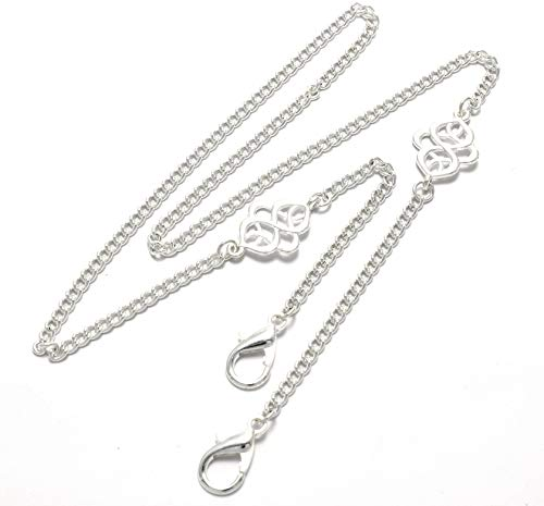 Brenda Elaine Jewelry Mask Necklace Holder w/Silver Fancy Celtic Knot Pendants, Womens Face Mask Lanyard, Mask Chain, Large Lobster Clasp, Fits Most Masks, 4 mm Curb Chain