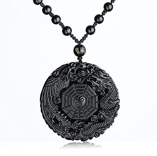 YANGYUE Collar con Colgante de obsidiana Negra Natural, dragón Fénix con Cadena, Amuleto con Colgante de Ocho trigramas, Mascota de la Paz para Hombres/Mujeres