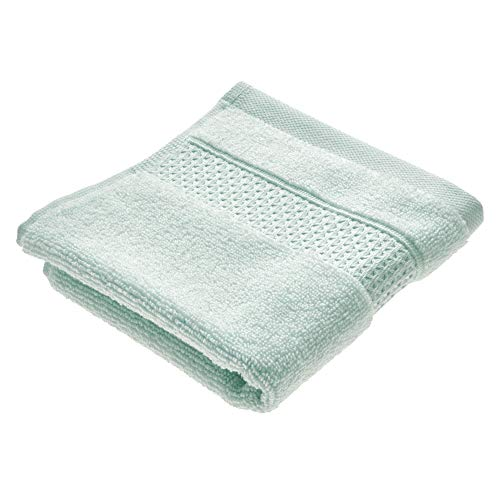 Price comparison product image iDesign Face Cloth,  Small Embellished Hand Towel Made of 100 Percent Cotton,  Soft Flannel Face Cloth for Face and Hands or for Shower and Bath,  Light Blue