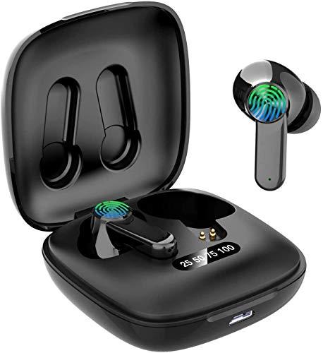 BOJEE Cuffie Bluetooth, cuffie Bluetooth 5.0 aggiornate 2020, microfono stereo, mini auricolari senza fili, con custodia di ricarica portatile per iOS Android PC(B06)