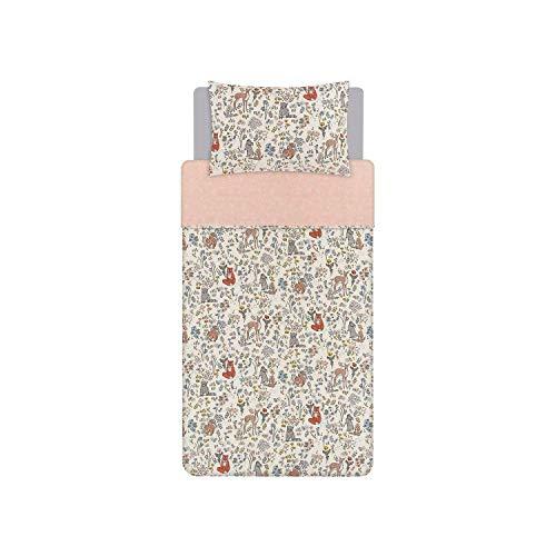 Pink Woodland - Juego de funda de edredón reversible de fácil cuidado para cama individual