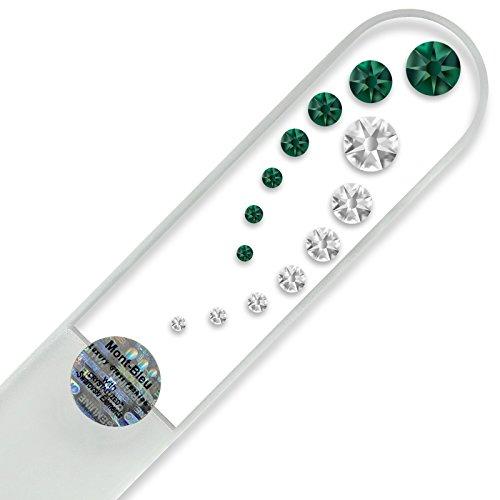 Grande lime à ongle en verre ornées à la main de cristaux de Swarovski Elements, pochette en velours noir   Véritable verre trempé tchèque, garantie à vie, Lime à ongles fait main en cristal