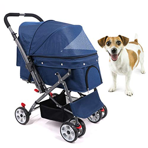 HD2DOG reiswieg voor huisdieren, schokbestendig opvouwbaar groot 360° draaibaar 4 wielen hond/kinderwagen met nylon net en zakken, hondenstoel XTM483