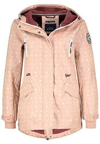 Sublevel Damen Softshell-Jacke Kurzmantel mit Kapuze & Print Light-Rose XXL
