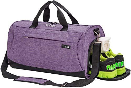 Sporttasche Reisetasche mit Schuhfach & Nassfach Wasserdicht Fitnesstasche Trainingstasche Gym Sport Tasche Handgepäck für Männer und Frauen (Purple, Large)
