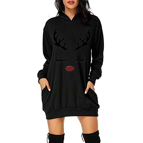 Xmiral Hoodie Kleid für Damen Weihnachten Gedruckte Langpullover Langarm Winterpullover mit Taschen(b-Schwarz,L)