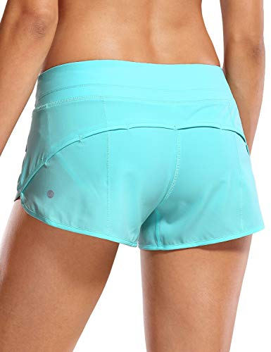 CRZ YOGA Women's Quick-Dry Workout Sports Active Running Shorts - 2.5 Inches Hydra Blue Small