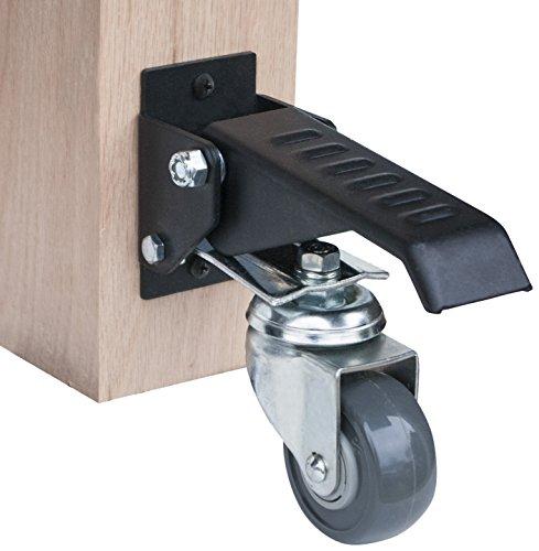 PowerTec workbench casters 17000 Werkbank-Lenkrollen-Set mit Polyurethan-Rollen und 400 kg Gesamtgewicht – 4 Stück