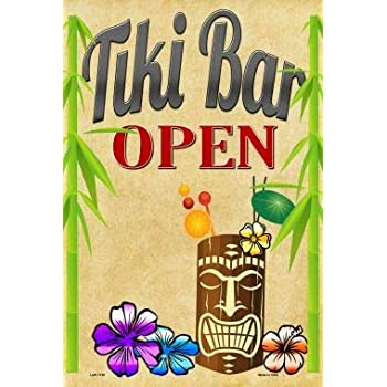 Tiki Bar Open Metal Novelty Large Parking Sign With Sticky Notes