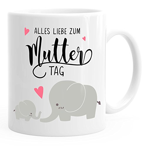 MoonWorks Kaffee-Tasse Alles Liebe zum Muttertag Elefant Elefanten Muttertagsgeschenk weiß Unisize
