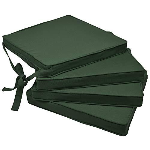 Beautissu Set de 4 Cojines para sillas Loft SK - Juego de Cojines cómodos para Asientos 45x40x5 cm Verde Oscuro - Cojines Elegantes y Modernos