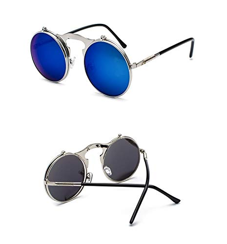 Único Gafas de Sol Sunglasses Steampunk Gafas De Sol Redondas Mujeres Hombres Metal Vintage Flip Circular Doble Lente Ga