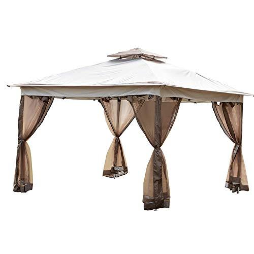WSN Pop Up Gazebo, Patio extérieur Gazebo Gazebo Canopy avec Panneau Solaire léger et 4 Sacs de Sable et pour Netting Arrière-Cour, en Plein air, terrasse et pelouse 12' x 12'
