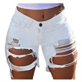 GDJGTA Women Jeans Shorts Pants Overalls Pants Stretch-Free Slim Hole Distressed Casual Fit Hot Pants White