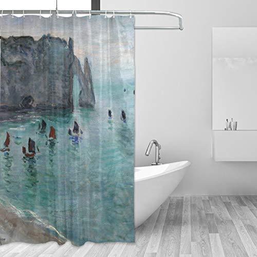 Ahomy Duschvorhang, Monet's Etretat The Aval Tür, Angeln, Boote, hinterlässt Klippen, wasserdicht, schimmelresistent, mit 12 Haken, 152 x 180 cm