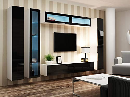 Jadella Wohnwand Anbau Wand Fernsehschrank Hängeschrank Regal Hochglanz Matt Wohnzimmer, Farbe:weiß matt/schwarz Hochglanz