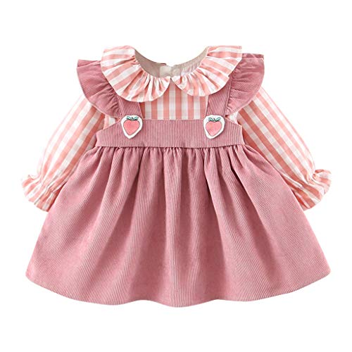Youmymine Toddler Baby Girls Long Sleeve Dress Fashion Ruffles Plaid Strawberry Patchwork Autumn Casual Dresses (6-12 Months, Pink)