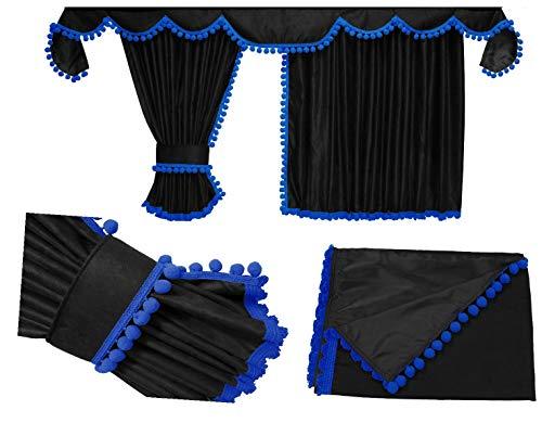 Adomo LKW Gardinen passgenau zum MP5 MP4 in schwarz-blau, Pompoms/Kugel