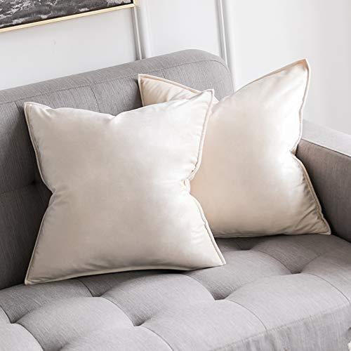 MIULEE 2er Set Samt Kissenbezug Flansch Kissenhülle Dekorative Dekokissen mit Verstecktem Reißverschluss Sofa Schlafzimmer 16 x 16 Inch 40 x 40 cm Creme weiß