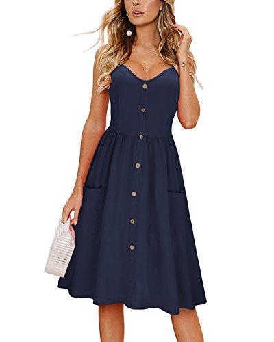 KILIG Women's Summer Dress Spaghetti Strap Button Down Sundress with Pockets