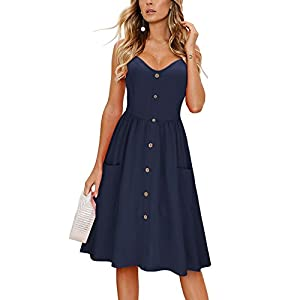 Women's Summer Dress Spaghetti Strap Button Down Sundress with Pocket...