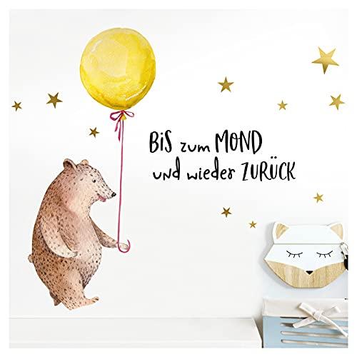 Little Deco Wandtattoo Kinderzimmer Junge Spruch Bis zum Mond Bär mit Luftballon Gelb Wandaufkleber Wandsticker Aufkleber Jungen Deko Babyzimmer Sticker DL213-07