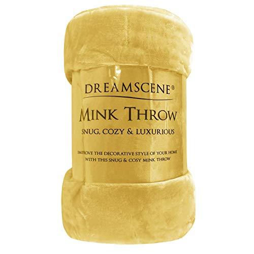 Dreamscene Luxury Faux Fur Mink Fleece Throw Over Sofa Bed Large Soft Warm Blanket, Ochre Yellow Mustard, 200 x 240 cm, King