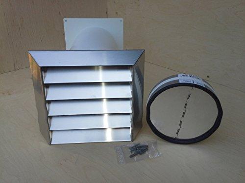 Ventilatie Nord muurkast 150 voor bijv. afzuigkap met telescopische buis en roestvrij staal bescherming tegen weersinvloeden met lamellen MKWSELFBDSI
